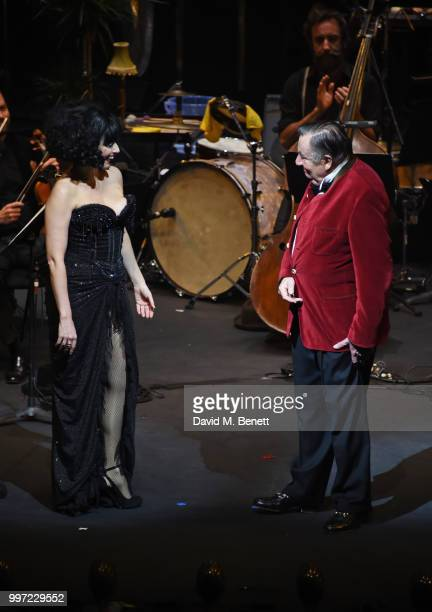 Meow Meow and Barry Humphries bow during the press night performance of 'Barry Humphries' Weimar Cabaret' at The Barbican Centre on July 12 2018 in...