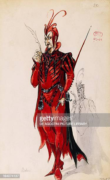 Mephisto sketch of the costume created by Betout for Faust by Charles Gounod Paris BibliothèqueMusée De L'Opéra National De ParisGarnier