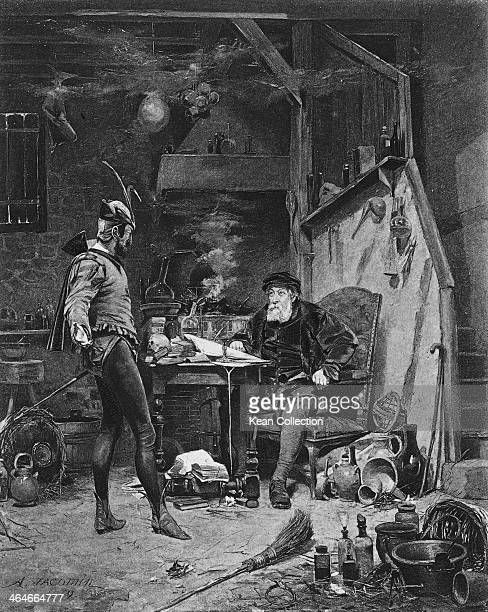Mephistopheles and Faust an illustration from Part 1 of the work by Johann Wolfgang von Goethe By A Jacomin 1869 Photogravure by Groupil Co