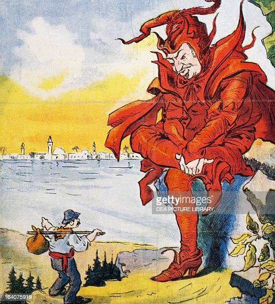 Mephistopheles and Faust satirical cartoon dedicated to Giovanni Giolitti from L'uomo di pietra magazine February 25 1912 Italy 20th century Milan...
