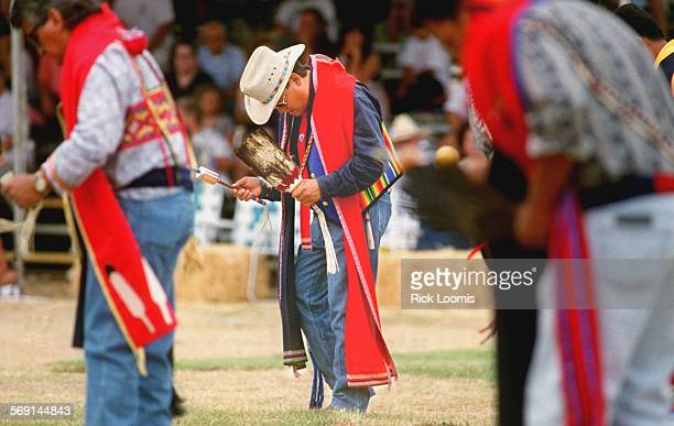 MEPowWow#30803RL–Costa Mesa–KODAK–Fred Burrow of Lakeside participates in the Southern California Indian Center's 28th Annual Pow Wow at the Orange...