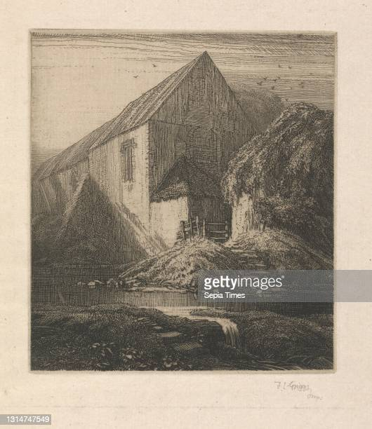 Meppershall Chapel, Frederick Landseer Maur Griggs, 1876–1938, British, c.1915, Etching, arches, architectural subject, bank, birds, brook, buttress,...