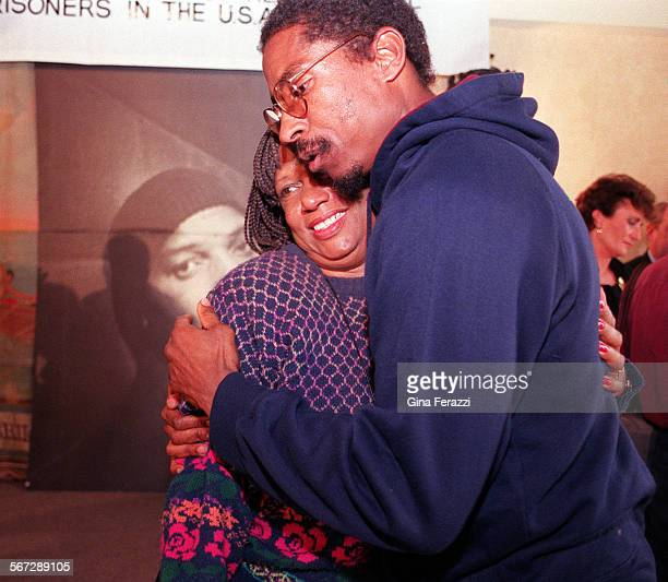 MEPratt#10226GF/GVirginia Pratt sister of imprisoned former Black Panther Geronimo Pratt gets a consoling hug from a Pratt supporter who called...