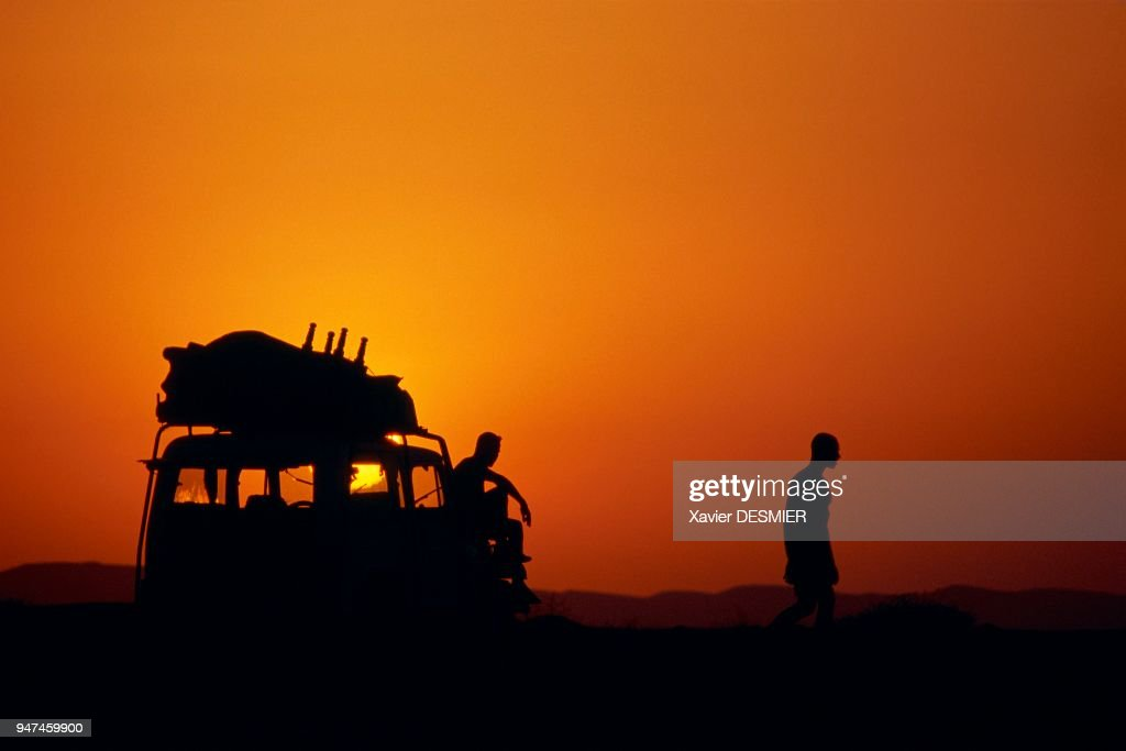 Mer Rouge En Egypte Couché De Soleil Sur La Route Du Sud Près De