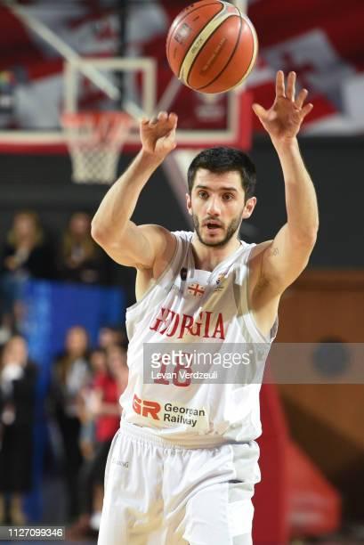 Merab Bokolishvili of Georgia passes during the FIBA World Cup qualifier match between Georgia and Estonia on February 24 2019 in Tbilisi Georgia