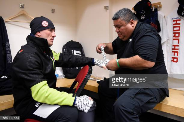 Merab Dvalishvili gets his hands wrapped backstage during the UFC Fight Night event inside Save Mart Center on December 9 2017 in Fresno California