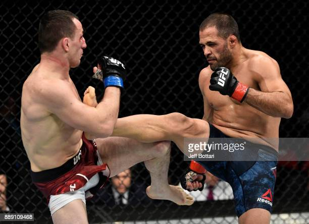 Merab Dvalishvili kicks Frankie Saenz in their bantamweight bout during the UFC Fight Night event inside Save Mart Center on December 9 2017 in...