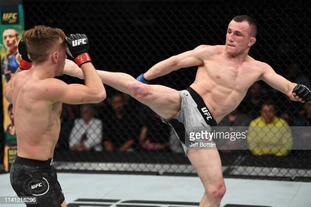 Merab Dvalishvili of Georgia kicks Brad Katona of Canada in their bantamweight bout during the UFC Fight Night event at Canadian Tire Centre on May 4...