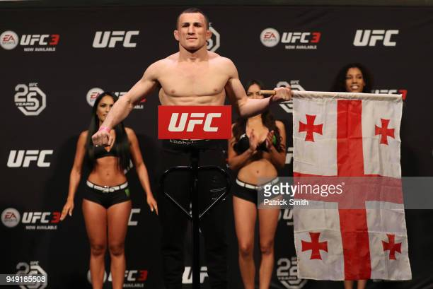Merab Dvalishvili of Georgia poses on the scale during the UFC Fight Night weighin at the Boardwalk Hall on April 20 2018 in Atlantic City New Jersey