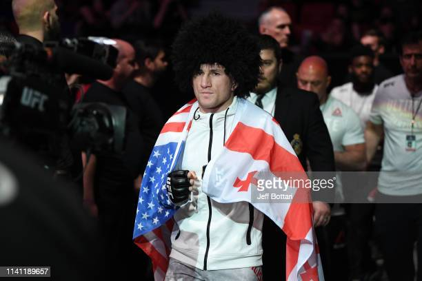 Merab Dvalishvili of Georgia prepares to enter the Octagon prior to his bantamweight bout against Brad Katona of Canada during the UFC Fight Night...
