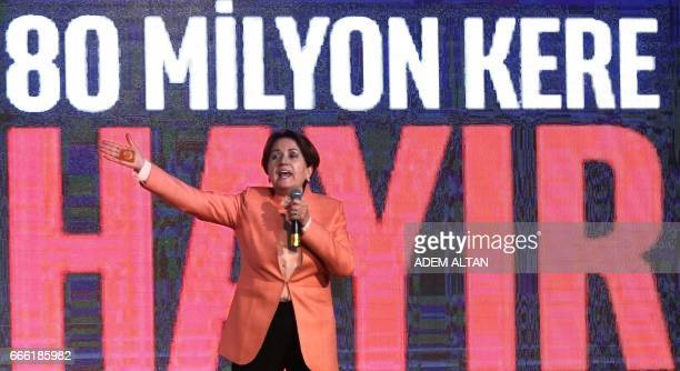 Meral Aksener candidate for the leadership of the Turkish opposition party Nationalist Movement Party delivers a speech during a 'NO' campaign...