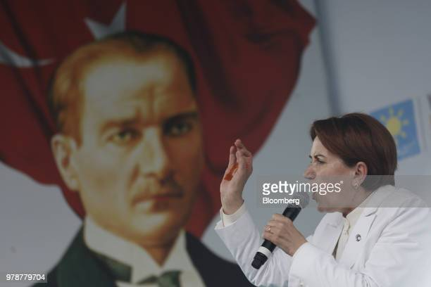 Meral Aksener former Turkey interior minister speaks during a political campaign rally ahead of the Turkish election in Kocaeli Turkey on Tuesday...