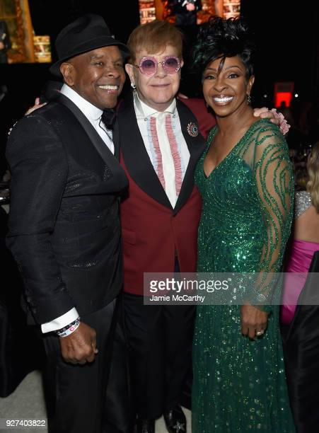 Merald Bubba Knight Sir Elton John and Gladys Knight attend the 26th annual Elton John AIDS Foundation Academy Awards Viewing Party sponsored by...