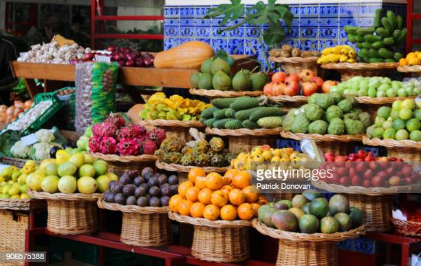 mercado dos lavradores, funchal, madeira - funchal stock pictures, royalty-free photos & images