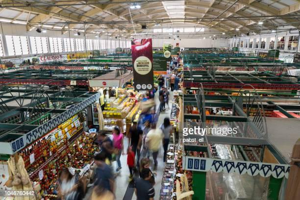 mercado municipal market curitiba crowd movement - curitiba stock pictures, royalty-free photos & images