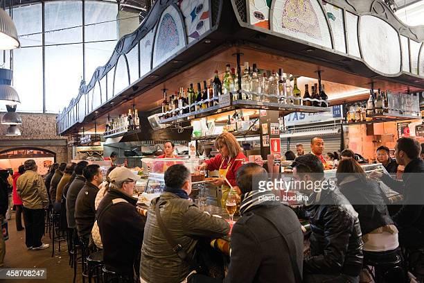 mercat de la boqueria restaurant - tapas stock photos and pictures
