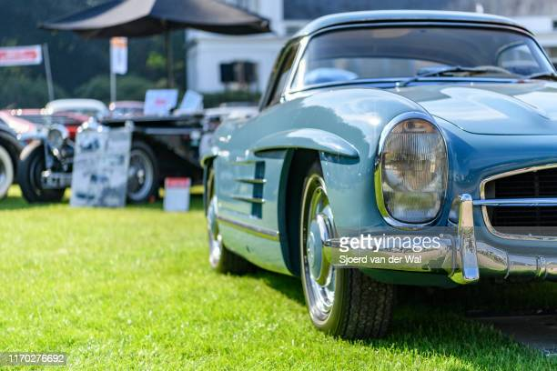 Mercedes 300 SL Roadster with hard top classic sports car on display at the 2019 Concours d'Elegance at palace Soestdijk on August 25 2019 in Baarn...