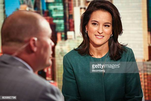 Mercedes Abramo chief executive officer of Cartier North America smiles during a Bloomberg Television interview in New York US on Thursday Sept 15...