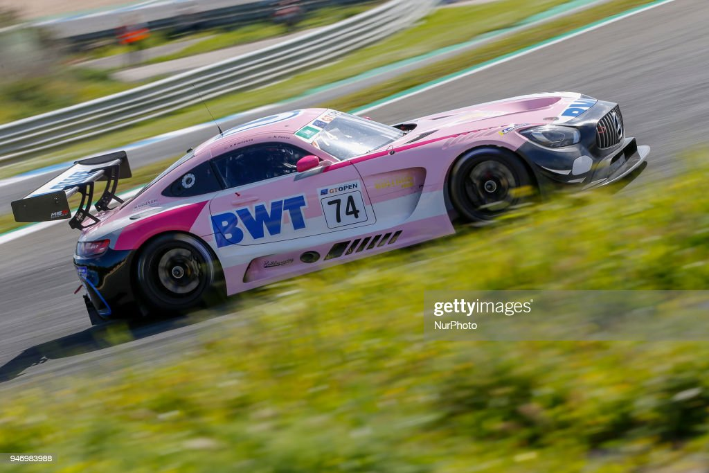 Mercedes AMG GT3 of HTP Motorsport / MS Racing driven by Alexander Hrachowina and Martin Konrad during Race 1 of International GT Open, at the Circuit de Estoril, Portugal, on April 14, 2018.
