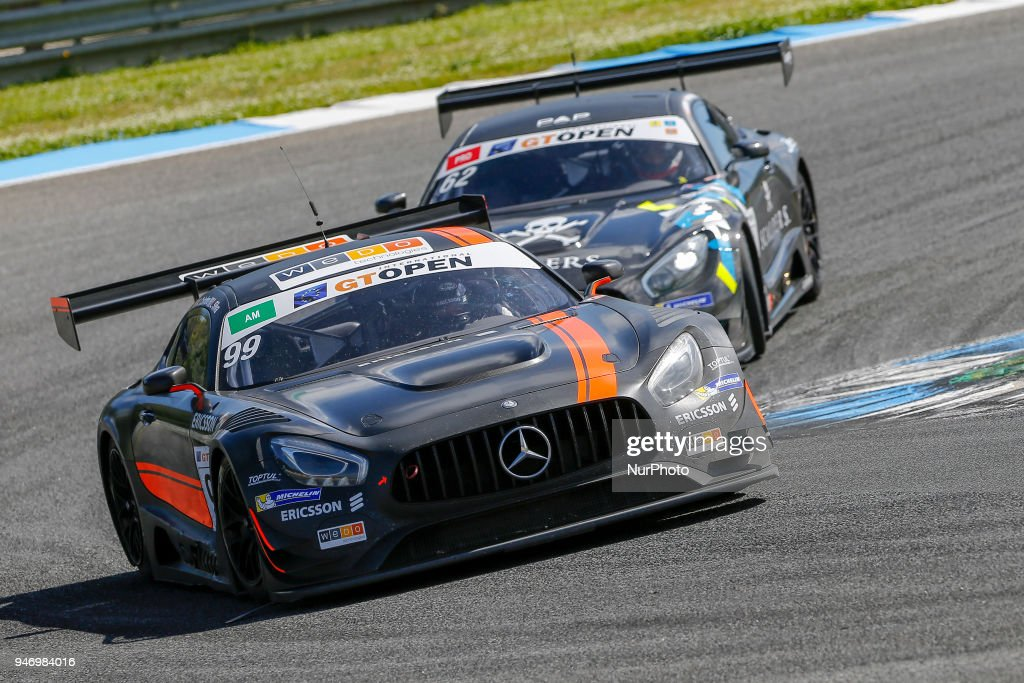 Mercedes AMG GT3 of Sports and You driven by Antonio Coimbra and Luis Silva during Race 1 of International GT Open, at the Circuit de Estoril, Portugal, on April 14, 2018.