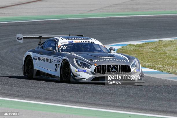 Mercedes AMG GT3 of SPS Automotive Performance driven by Valentin Pierburg and Tom OnslowCole during Race 1 of International GT Open at the Circuit...