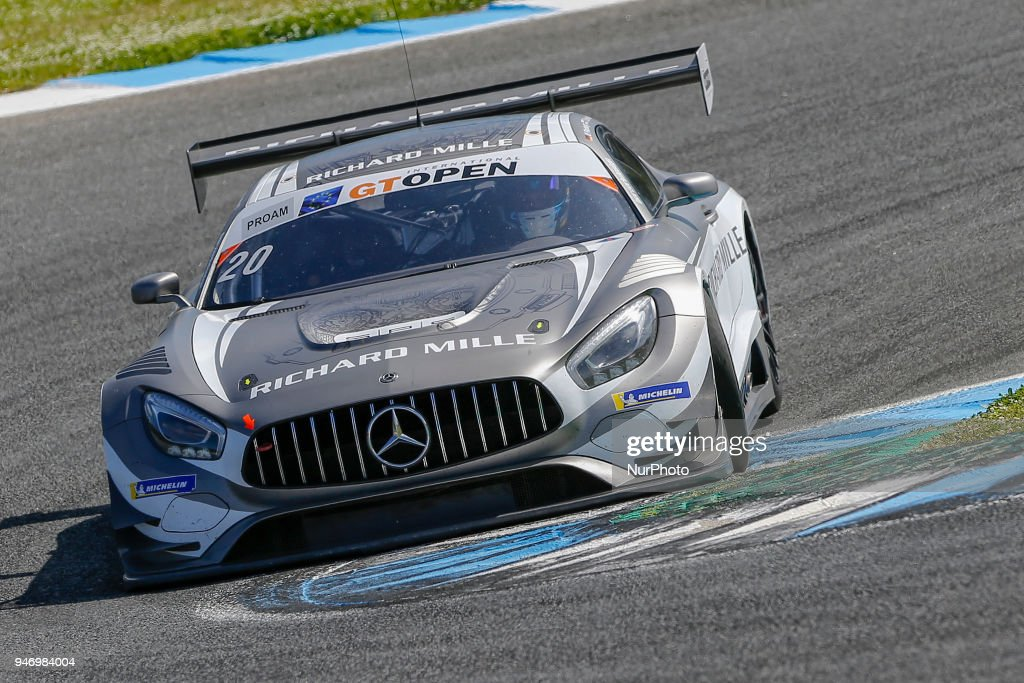Mercedes AMG GT3 of SPS Automotive Performance driven by Valentin Pierburg and Tom Onslow-Cole during Race 1 of International GT Open, at the Circuit de Estoril, Portugal, on April 14, 2018.