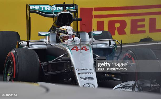 Mercedes AMG Petronas F1 Team's British driver Lewis Hamilton competes in the qualifying session for the European Formula One Grand Prix at the Baku...