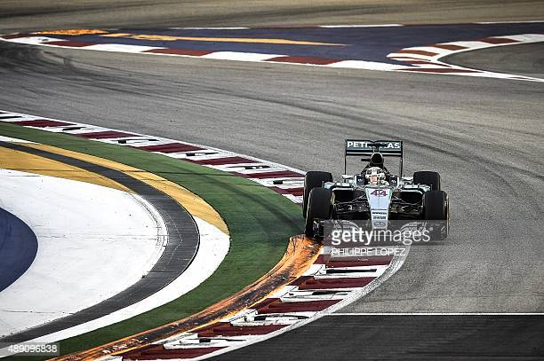 Mercedes AMG Petronas F1 Team's British driver Lewis Hamilton powers his car during the third and final free practice session of the Formula One...