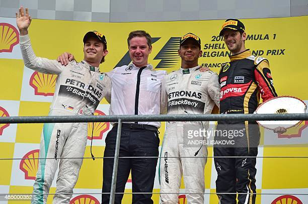 Mercedes AMG Petronas F1 Team's British driver Lewis Hamilton second placed Mercedes AMG Petronas F1 Team's German driver Nico Rosberg and third...