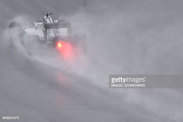 Mercedes AMG Petronas F1 Team's car is powered during the Brazilian Grand Prix at the Interlagos circuit in Sao Paulo, Brazil, on November 13, 2016....