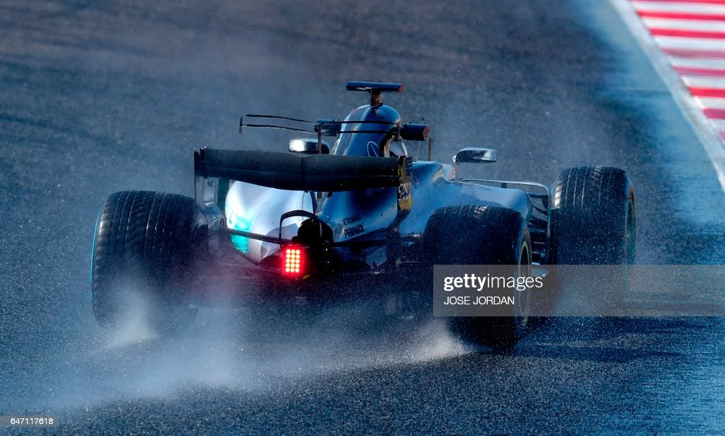 TOPSHOT - Mercedes AMG Petronas F1 Team's Finnish driver Valtteri Bottas drives at the Circuit de Catalunya on March 2, 2017 in Montmelo, on the outskirts of Barcelona during the fourth day of the first week of tests for the Formula One Grand Prix season. /