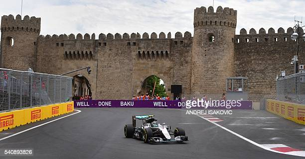 Mercedes AMG Petronas F1 Team's German driver Nico Rosberg steers his car at the Baku City Circuit on June 17 2016 in Baku during the first practice...