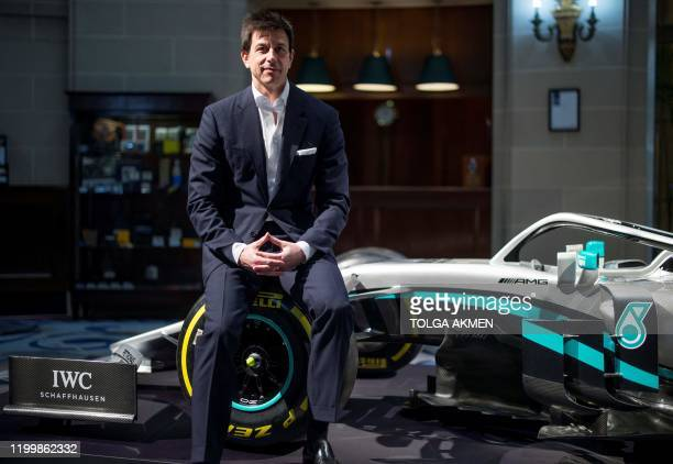 Mercedes AMG Petronas F1 Team's team principal Toto Wolff poses for a photograph during a media event to reveal the team's new livery for the...
