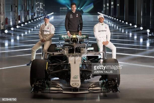 Mercedes AMG Petronas Formula One drivers Finland's Valtteri Bottas and Britain's Lewis Hamilton with Mercedes AMG Petronas Formula One Team...