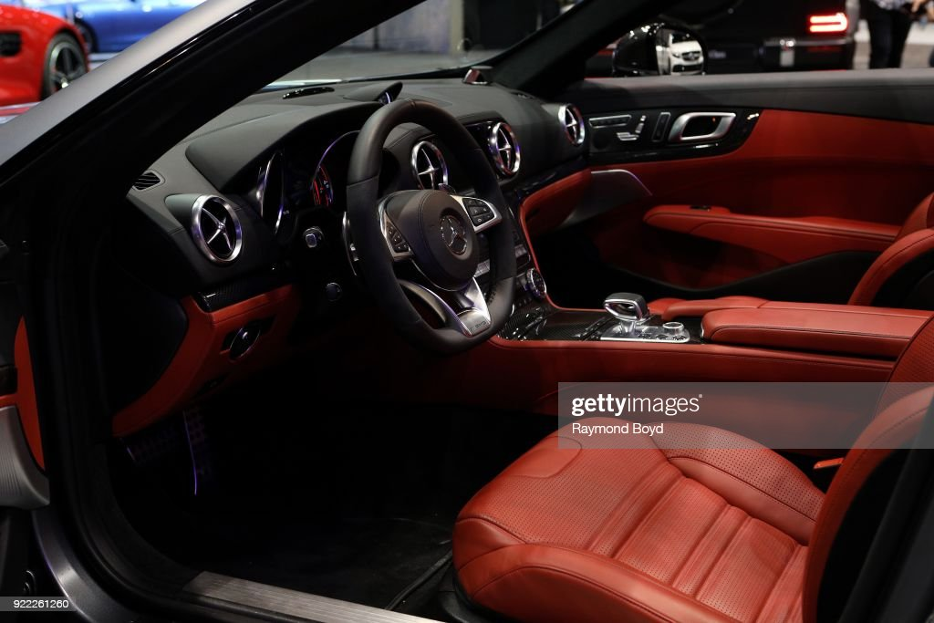 Mercedes Benz AMG SL 63 Roadster is on display at the 110th Annual Chicago Auto Show at McCormick Place in Chicago, Illinois on February 9, 2018.