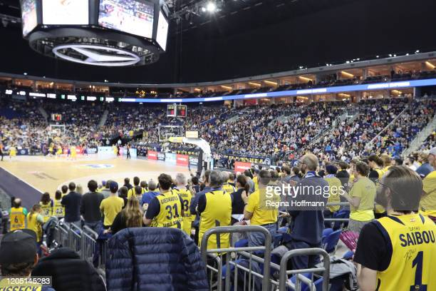 Mercedes Benz Arena during the 2019/2020 Turkish Airlines EuroLeague Regular Season Round 27 match between Alba Berlin and FC Barcelona at Mercedes...