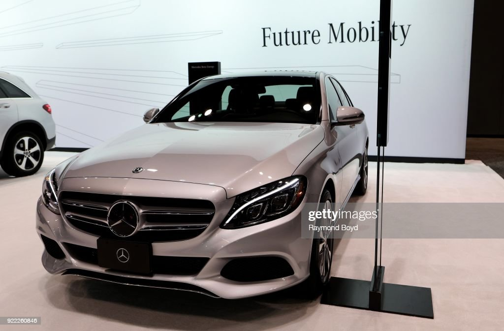 Mercedes Benz C 350e Plug-In Hybrid Sedan is on display at the 110th Annual Chicago Auto Show at McCormick Place in Chicago, Illinois on February 9, 2018.