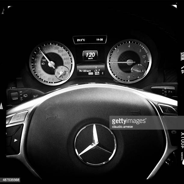 mercedes benz car. black and white - mercedes stock photos and pictures