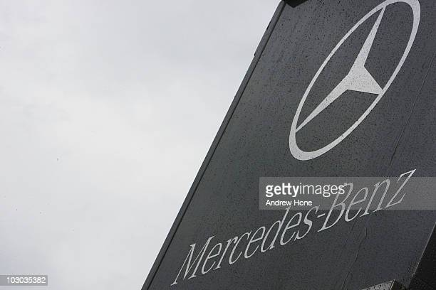 Mercedes Benz logo is seen on their motorhome during previews to the German Grand Prix at Hockenheimring on July 22 2010 in Hockenheim Germany