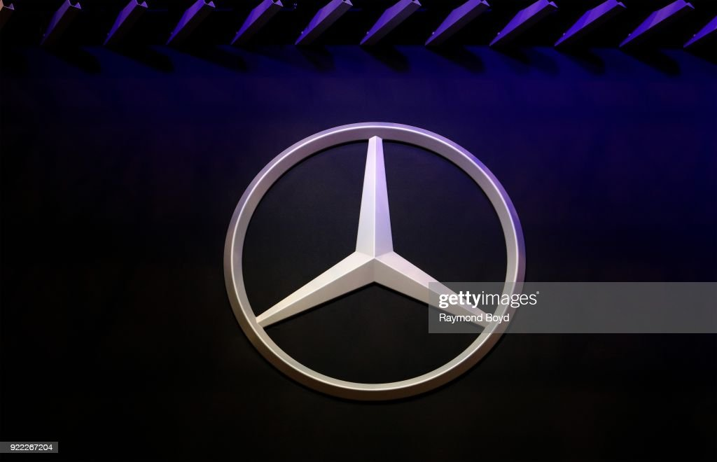 Mercedes Benz Signage is on display at the 110th Annual Chicago Auto Show at McCormick Place in Chicago, Illinois on February 9, 2018.