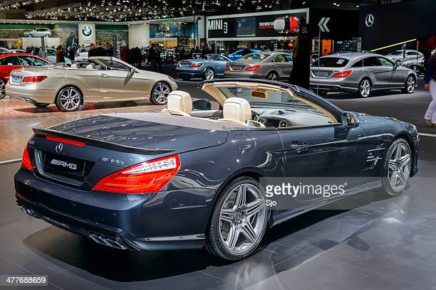 mercedes benz sl 63 amg convertible - mercedes benz stock pictures, royalty-free photos & images