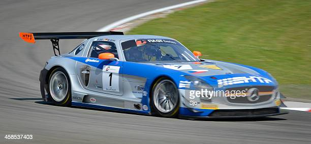 mercedes benz sls amg gt3 race car at the circuit - fia gt championship stock pictures, royalty-free photos & images