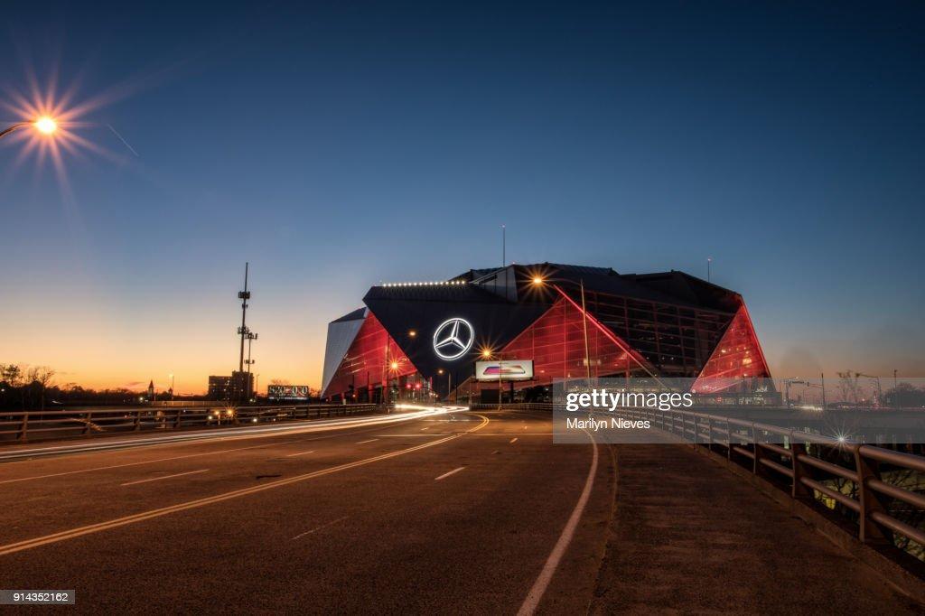 Mercedes Benz Stadium at night : Stock Photo