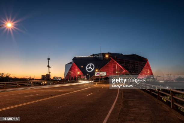 Mercedes Benz Stadium at night
