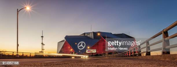mercedes benz stadium at night - atlanta georgia stock photos and pictures