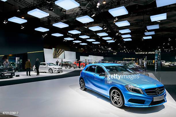 mercedes benz stand - mercedes stock photos and pictures