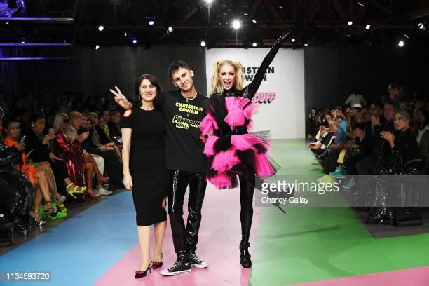 Mercedes Bevan, Designer Christian Cowan and Paris Hilton walk the runway at Christian Cowan x The Powerpuff Girls Runway Show at City Market Social...