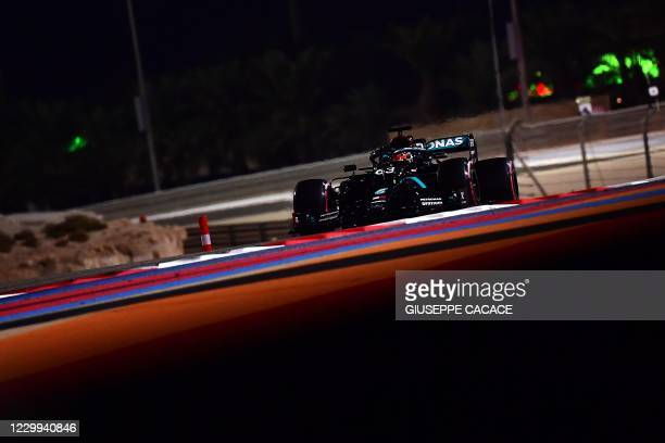 Mercedes' British driver George Russell drives during the first practice session ahead of the Sakhir Formula One Grand Prix at the Bahrain...