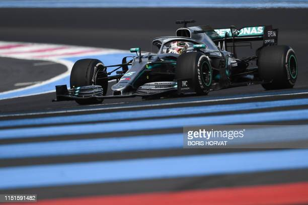 Mercedes' British driver Lewis Hamilton competes during the Formula One Grand Prix de France at the Circuit Paul Ricard in Le Castellet, southern...