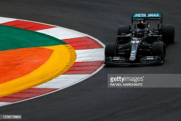 Mercedes' British driver Lewis Hamilton competes during the Portuguese Formula One Grand Prix at the Autodromo Internacional do Algarve on October...